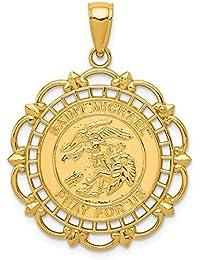 9d2e848a3b3 14 K oro pulido y satinado San Miguel Medalla Colgante