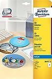 Avery Zweckform J8676-25 CD-Etiketten (A4, 50 Stück, schnell trocknend, Ø 117 mm) 25 Blatt weiß