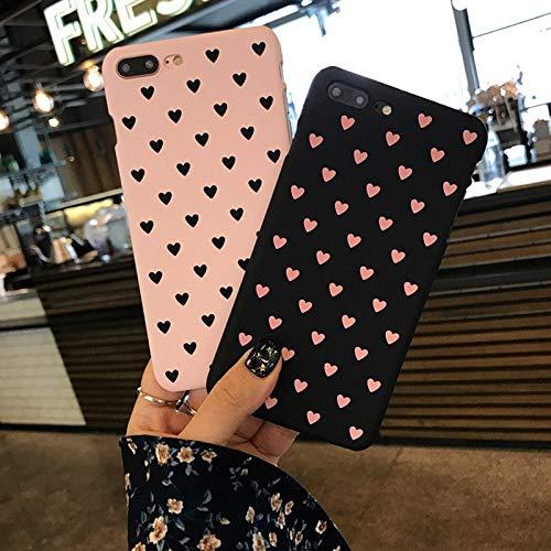 JGFDVBBNM Handyhülle Herz-Handy-Hülle für iPhone 6 6s Plus 7 8 Plus 5 5s SE X XR XS Maximaler Liebes-Element-Kunst-Fall für rückseitige Abdeckung der Mädchen-Frau, Rosa, für iPhone 7 8 (Rosa 5 Iphone Fall Mädchen)