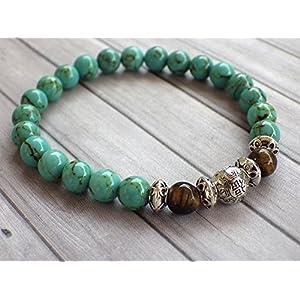 Armband für Männer Rekonstitution türkis Perlen und Tigerauge Perlen
