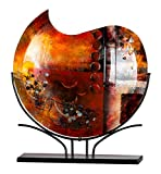 GILDE GLAS art Vase Amber Sundown - Dekovase und Kunstwerk handgefertigt aus buntem Glas mit schwarzem Metallhalter Höhe 49 cm Breite 47 cm 39375