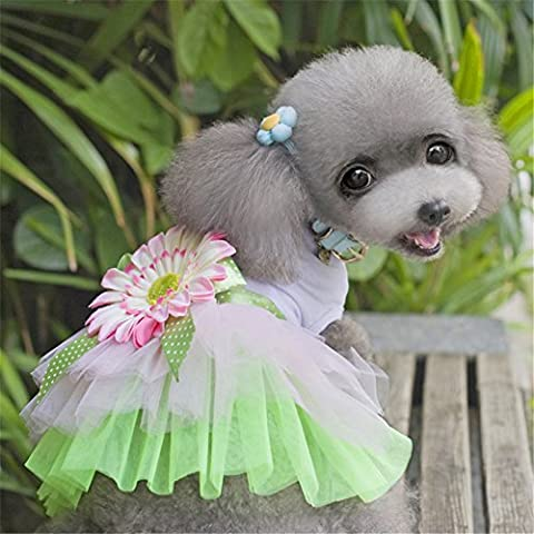Meijunter Vêtements pour animaux Spring Summer Pet Puppy Dog Vest T-Shirt Apparel Clothes (XZ115#Flower L)