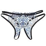 La Cabina Femmes Sexy Culotte String Slip en Dentelle Broderie Transparent Ouvert à l'Entrejambe Érotique Taille Basse Fesse Nue Lingerie de Flirter EU Taille S-L