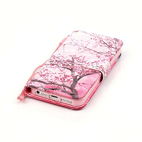 C-Super Mall-UK Apple iPhone 7 custodia,squisito 3D modelli dipinti pelle sintetica Portafoglio stand flip cover per Apple iPhone 7(ciliegio) Cherry tree