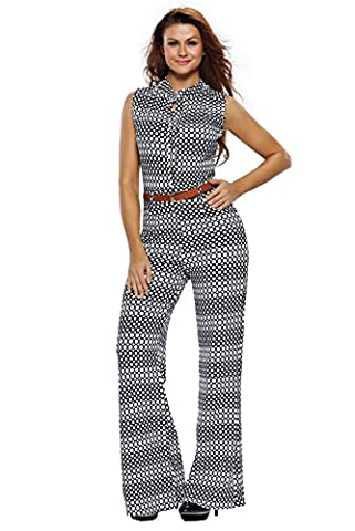 Dokotoo Womens Chic Overlay Belted Sleeveless Wide Leg Jumpsuit Small Circle Print