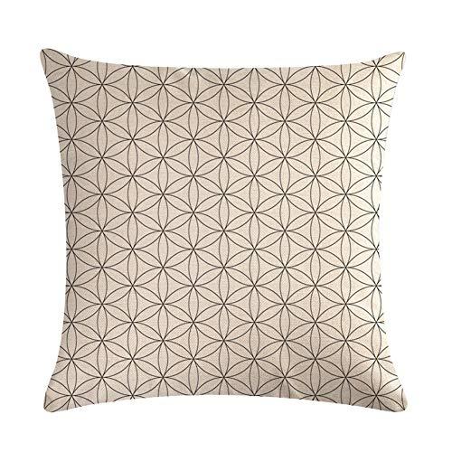 NMSL Kissenbezug, Satz 4pcs Quadratischer Kissenbezug, Dekoartikel für Zu Hause, Strapazierfähige Baumwolle Leinen, 18 x 18inch (45x45cm) - Geometrische Form,NO.2