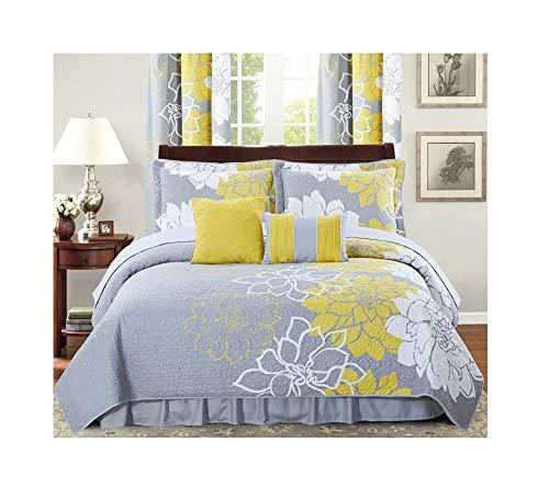 All American Collection New 6bedruckte Wende Tagesdecke Set mit Staub Rüschen, Polyester-Mischgewebe, gelb / grau, Twin Size -