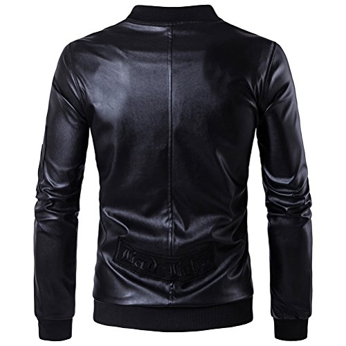 WS668 Herren PU Leder Stehkragen Gute Qualität Trend Mantel Classic Reißverschluss Motorrad Overcoat Bomber Biker Jacke Mens Coats Schwarz