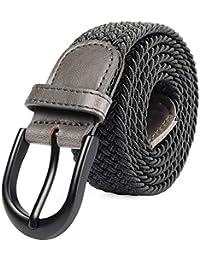 Mile High Life Cinturón elástico trenzado elástico con pasador ovalado  Hebilla completa de cuero negro con hombre… fe92ac61a87c