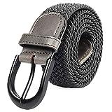 Cintura elastica intrecciata con fibbia ovale Fibbia nera con fibbia in pelle con uomo/donna / Junior (grigio, grande 91 cm-96 cm (lunghezza 111,5 cm))