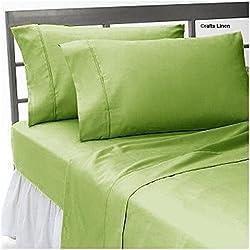 Crafts lino algodón egipcio sábana, satén 4piezas Juego de sábanas., algodón, Sage Solid, Euro doble IKEA