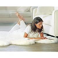 Tapis de décoration en peau de mouton à poil long blanc ivory 95cm