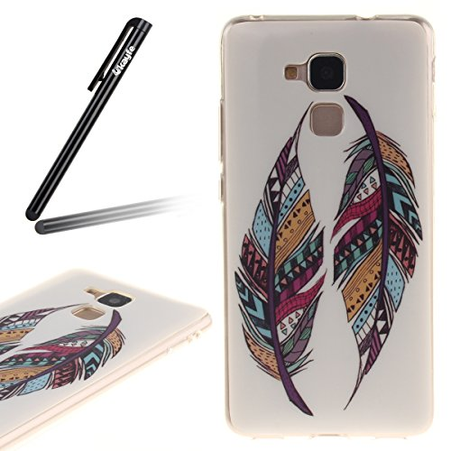 Ukayfe Custodia per Huawei Honor 5C,Ultra Slim TPU Gel Gomma Silicone Copertura Case per Huawei Honor 5C,Moda Serie Pattern Back Cover Crystal Skin Custodia Stilosa custodia di design Protettiva Shell piume colorate