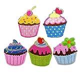 Set von 5 niedlichen Stickerei Patches Cupcake Patches bunten [A]