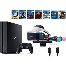 PlayStation VR Start Bundle 10 Items:VR Start Bundle PS4 Pro 1TB,6 VR Game Disc Until Dawn: Rush of Blood,EVE: Valkyrie, Battlezone,Batman: Arkham VR,DriveClub,Battlezone Battle(Version US, Importée)