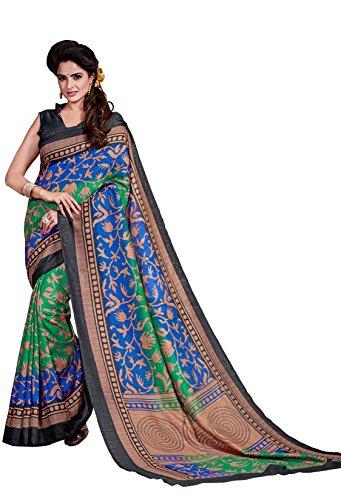 Classic Enterprise Sarees Daily Wear Stripe & Geometric Print Multi-Color Cotton Sari With Blouse (Malgudi-4446)