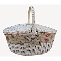 White Wash Finish Oval Picnic Basket With Garden Rose Lining