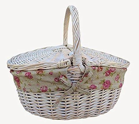 Terminer White Wash ovale Picnic Basket Avec Jardin Rose Doublure