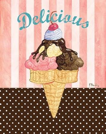 Ice Cream Shoppe I - Fine Art Print on Matt Cotton Canvas - PRINT ONLY -NO FRAME - 26 x 33 Inch. Brilliant color and contrast printed on a 10 color giclee machine