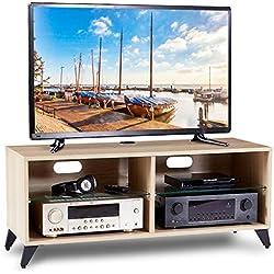 RFIVER RFIVER Meuble TV Scandinave Cabinet Meuble de télévision en Bois Salon Moderne Table téléviseur Etagère avec 4 Compartiments pour Rangement Blanc Chêne TS4001