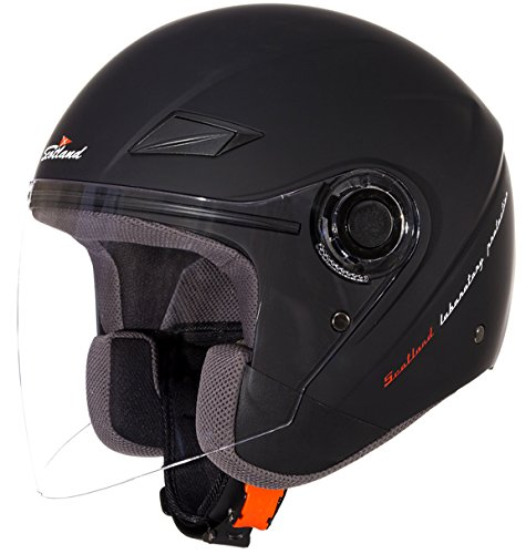 Scotland Casco Force 03 da Moto/Scooter con Visiera Lunga, Unisex, Nero Opaco, 61-62 (XL)
