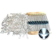 Tenflyer Luz blanca 5mm LED Diodo + Resistencia 100 piezas en 1 Set