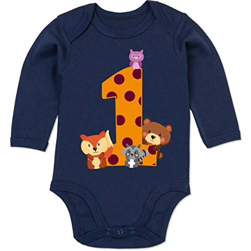 (Shirtracer Geburtstag Baby - 1. Geburtstag Waldtiere - 12-18 Monate - Navy Blau - BZ30 - Baby Body Langarm)