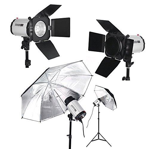 bps 900w studio flash light set softbox lighting kit 3x 300di studio