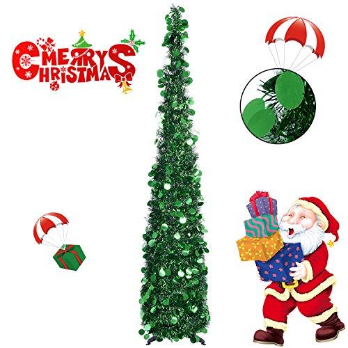 Hydream Árbol de Navidad Artificial Tinsel, Plegable y Fácil de Montar para Apartamento,...