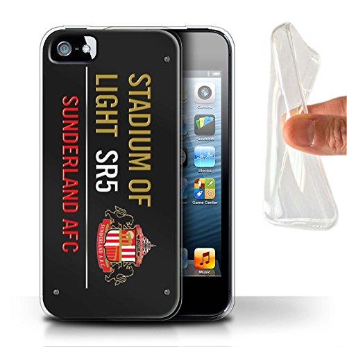 Offiziell Sunderland AFC Hülle / Gel TPU Case für Apple iPhone SE / Pack 6pcs Muster / SAFC Stadium of Light Zeichen Kollektion Schwarz/Gold