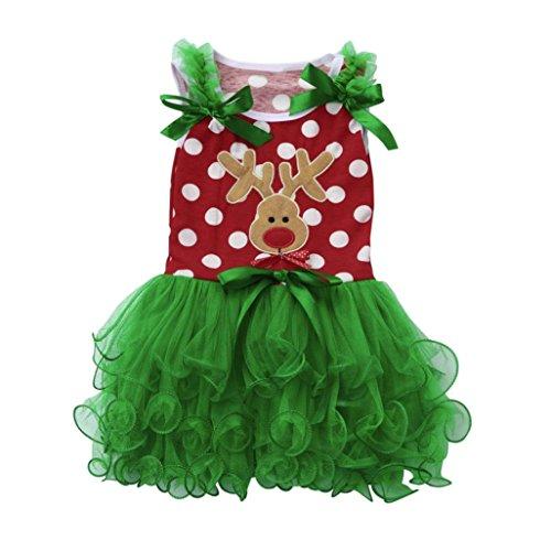 15 Für Altes Monat Baby Kostüm - Kleid Mädchen Kolylong® 1 PC (0-4 Jahre alt) Kinder Baby Mädchen Weihnachten Kleid Tutu Kleid Neujahr Kleid Party Kleid Outfits Kostüm Shirt Kleiderset (Rot, 90CM(12-18 Monate))