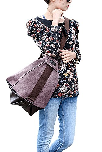 Padgene Modisch Canvas Damen Handtasche Schultertasche Shopper (Khaki) Helllila