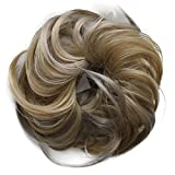 Toptheway 30g Scrunchie Bun Up Do Hairpiece Wavy Messy Bun Extensions,Blonde Mixed
