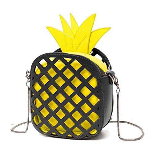 eb8ccd0d6c25e TFgirl PU Leder Leder Schulter Taschen Ananas Form Kette Handtaschen  Messenger Bag Gelb