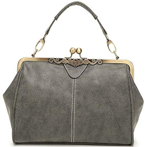 KAIDILA Handtaschen für Frauen Patent Elegante Litschi Muster PU Leder Damen Schulter Tasche Mode Einkaufstasche-Casual & Arbeit, grün Rot Blau- und Grautönen - Grün Patent Leder Handtasche