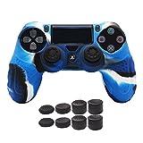 CHIN FAI PS4 Controller Schutz-Hülle,Silikon Anti-Rutsch 8 Daumen Griffe Skin Grip Schutzhülle für Sony PS4/SLIM/PRO Controller(Camouflage Blau)