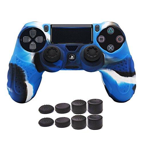 CHIN FAI PS4 Controller Schutz-Hülle,Silikon Anti-Rutsch 8 Daumen Griffe Skin Grip Schutzhülle für Sony PS4 / Slim/Pro Controller(Camouflage Blau) -