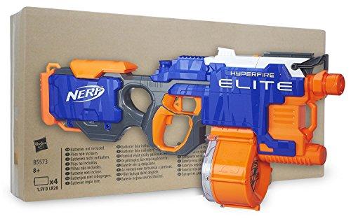 Nerf N-Strike Elite Hyperfire en embalaje sostenible, la pistola automática más rápida con cargador de munición y 25 dardos