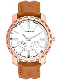 Grandlay mg-3081 white dial with brown strap stylish watch for menz