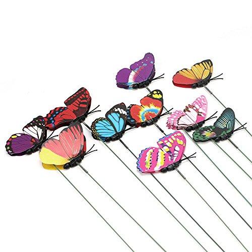Greenwich Ring (efanr 100Colorful Doppel Flügel Schmetterling auf Sticks Beautiful Garden Ornament Schmetterling Vase Rasen Craft Art Blumentopf DIY Dekoration Zubehör zufällige Farbe)