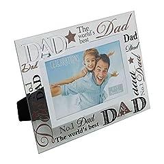 """Idea Regalo - Juliana, cornice portafoto con scritta """"Dad"""" (papà) a specchio, ideale come regalo per un papà speciale"""