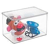 mDesign contenitore portagiochi – portagiochi con coperchio per sistemare i giocattoli negli scaffali o sotto il letto – contenitore giochi trasparente