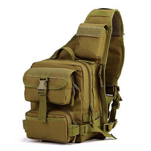Imagen de bolsa táctico militar bolsa de pecho bolso al hombro de moda bolsa de aire libre para ocio deporte senderismo bolsa ,marrón oscuro
