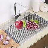 Dish Drying Rack, ZealBea Focus Enrollable Escurreplatos Acero Inoxidable para Fregadero [Silicio Suave de Grado FDA] [Sin BPA] Sobre el Fregadero o Encimera Escurreplatos (Gris, 20.9' x 12.6')