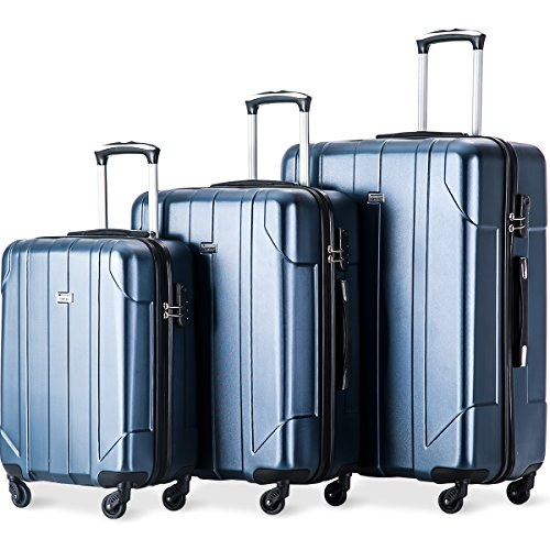 Trolleyset Leichtgewicht 3tlg. Hartschalen Gepäckset 4 Doppel-Rollen PET Kofferset Reisekofferset mit Zahlenschloss, XL-L-M, (Blau)