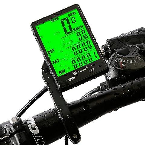 Ordinateur de vélo, West Biking Vélo Odomètre Compteur de vitesse pour vélo, sans fil étanche Grand écran LCD automatique Réveil rétroéclairage détecteur de mouvement pour suivi d'équitation Speed suivi Distance Bycicles Cyclisme Accessoires, Homme Enfant femme, Wired-Black