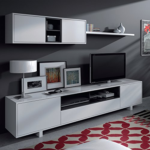 Habitdesign 0T6682BO - Mueble de comedor moderno, color Blanco Brillo y Negro...