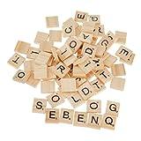 Buchstabenplättchen aus Holz, Scrabble-Steine, schwarze Buchstaben mit Punktezahlen, zum Basteln, 100 Stück