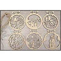 6 Pieces Christmas Set 3 - Wood | Tags | Ornaments | Wooden | Cutout | Hanging | Crafts | Embellishments | Tree | Bauble | Craft | DIY |