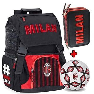 Schoolpack Rucksack erweiterbar A.C. MILAN mit Ball + Federmäppchen mit 3 Reißverschlüssen komplett - Schule 2018-209